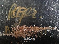 Tableau Ancien Expressionniste Le Rempailleur de chaise Huile sur toile signée