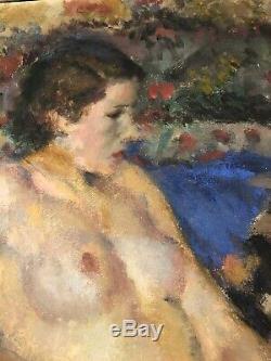 Tableau Ancien Femme Nue Signe Pierre Luc Rousseau