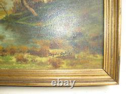 Tableau Ancien Fin XIX Siècle-paysage D'automne-peinture A L'huile Encadrée