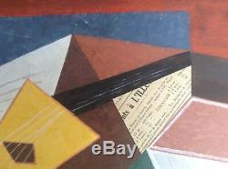 Tableau Ancien Gouache Collage Cubiste Composition à la Guitare goût Braque Gris