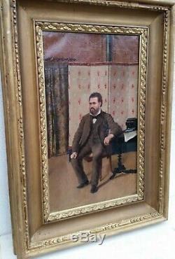 Tableau Ancien Hst Peinture Portrait Homme De Qualite Anonyme XIX Huile