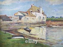 Tableau Ancien Hst Village Bord De Mer 1950 Moulin A Marée Bretagne 1950