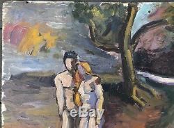 Tableau Ancien Huile D. DE FRAHAN 1946 Adam Eve Esquisse Peinte Scène Symboliste