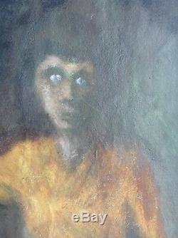 Tableau Ancien Huile Expressionniste Portrait Jeune Garçon au regard énigmatique