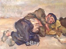 Tableau Ancien Huile Expressionniste de Renée UNIK Vagabond assoupi c1945