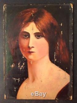 Tableau Ancien Huile Impressionniste Portrait d'une jeune femme rousse non signé