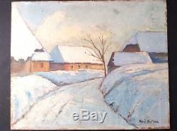 Tableau Ancien Huile Impressionniste René DUFOUR 1896-1974 Paysage Plaimpalais