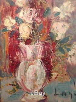 Tableau Ancien Huile Impressionniste Superbe Bouquet de Roses double face signé