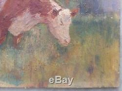 Tableau Ancien Huile Impressionniste Vache rousse au pré style Félix Planquette