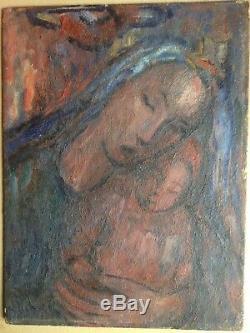 Tableau Ancien Huile Impressionniste style Marc CHAGALL Portrait Vierge Enfant