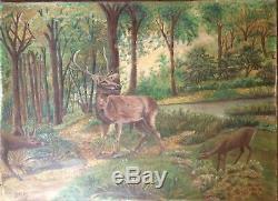 Tableau Ancien Huile Peinture Animalière style Rosa BOHNEUR CERF Biche signé XIX