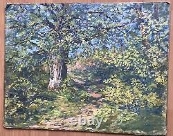 Tableau Ancien Huile Peinture Pointilliste Vers 1900 Monogrammé A Identifier