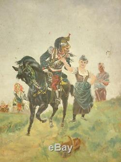 Tableau Ancien Huile Sur Toile Cuirassier Militaire Cavalier French Painting