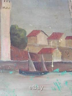 Tableau Ancien Huile Sur Toile Marine 19 Eme Tour Carré Sur Chssis Splendide Be