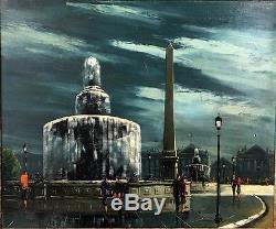 Tableau Ancien / Huile Sur Toile Place De La Concorde Signée Andre D'apey