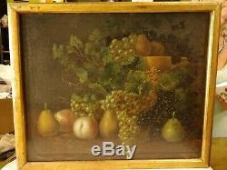 Tableau Ancien Huile sur Toile Nature Morte Fruits signée R. R, Peinture XVIII