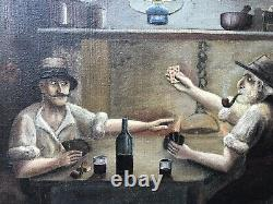 Tableau Ancien Partie de Cartes Signée Vinel Peinture Naïve Art Populaire XXe