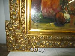Tableau Ancien Peinture A L'huile Nature Morte Champignons