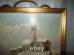 Tableau Ancien Peinture A L'huile Sur Bois Avec Montagne Neige Église Personnage