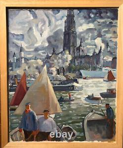 Tableau Ancien Peinture Huile Anvers Antwerpen Quai de lEscaut C. 1930 Flandres