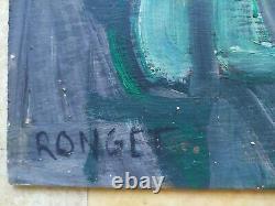 Tableau Ancien Peinture Huile Sur Panneau Cubiste Élisabeth Ronget Vers 1950