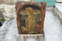 Tableau Ancien Peinture Icône Maternité Portrait Vierge à Lenfant