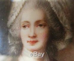 Tableau Ancien Peinture Miniature portrait femme Queen Charlotte d'Angleterre