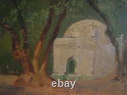 Tableau Ancien Peinture Orientaliste Marabout Du Bois Sacre Blida (algerie)