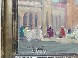 Tableau Ancien Peinture Orientaliste Vue Du Maroc animée Gaston Durel Panneau
