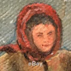 Tableau Ancien Peinture Paysage enneigé animé HST Style Barbizon signé