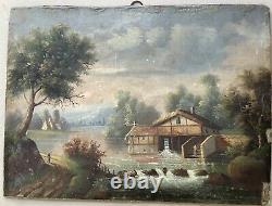 Tableau Ancien Peinture à Lhuile Paysage Personnages Maison riviére Vers 1862
