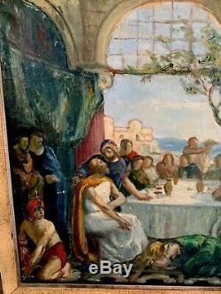 Tableau Ancien Peinture huile sur toile Esquisse Préparatoire Fin XIXeme