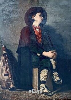 Tableau Ancien Peinture huile sur toile Pifferaro Tissot J. HST XIXeme