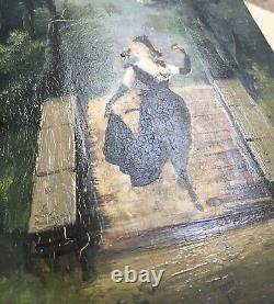 Tableau Ancien Photo Rehaussée Peinture Huile Portrait Femme Élégante Paysage