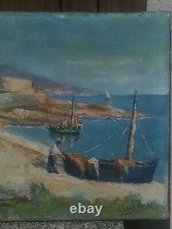 Tableau Ancien Port De Peche Corse / Peinture Provencale 65x41 Lanfranchi J