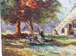 Tableau Ancien Post-Impressionnisme Bigoudènes Eglise BRETAGNE Huile signée