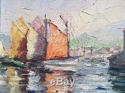 Tableau Ancien Post-Impressionnisme Port de CONCARNEAU BRETAGNE Huile signée
