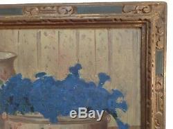 Tableau Ancien Post-Impressionniste Nature Morte aux Gentianes Huile sur bois