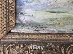 Tableau Ancien Signé G. Guérin (1869-1916) XIXe HSP Peinture Paysans Barbizon