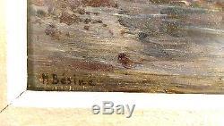 Tableau Ancien Signe Henri Besine Montpellier Marine Etangleucate Authenticite++
