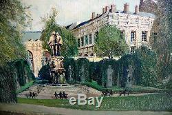 Tableau Ancien Vue de Bruxelles Belgique Signée Willy Haulen 60 x 60 cms