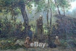 Tableau Ancien XIX° Paysage Femme enfants Forêt Barbizon 27 x 40