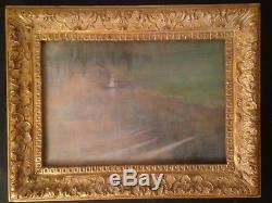 Tableau Ancien début XXe Barque à l'étang Huile signée Dans le gout de Monet