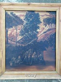 Tableau Ancien peinture Huile Sur Toile Signé Bali Indonésie Paysage