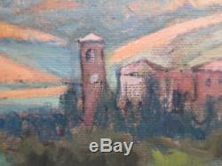 Tableau Ancienne Huile Paysage Peinture Original Signé Pancaldi Moderne 900 Xx
