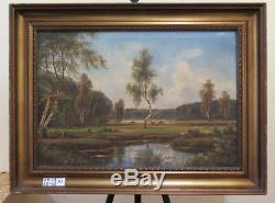 Tableau Ancienne Huile sur Toile Peinture Signé c. Balk Paysage Danois X1