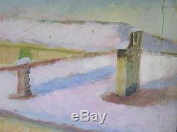 Tableau Ancienne Paysage Hiver avec Neige Hiver Peinture Huile sur Table p15