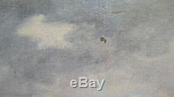 Tableau Ancienne Paysage de la Campagne Romaine Ruines Peinture à Huile Toile X9