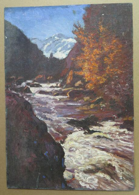 Tableau Ancienne Peinture Huile Sur Paysage Montagne En Automne Original P3