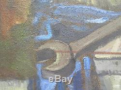 Tableau Ancienne Peinture Huile Vue à L'Intérieur Atelier avec Outils Travail